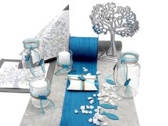 Table decoration communion confirmation petrol tree of life party favors SET 20 people table decoration communion & confirmation SET: 20 people table decoration tree of life petrol gray communion confirmation Tree Of Life, Communion, Party Favors, Table Decorations, Christmas, Home Decor, Jasmin, Confirmation, Napkins