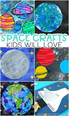 Space Crafts for Kids -Easy crafts for preschoolers and kids! Space Crafts for Kids -Easy crafts for preschoolers and kids! Amazing space crafts for kids -Fun and easy outer space arts and crafts activities for preschoolers. Kids will love these si Arts And Crafts For Teens, Art And Craft Videos, Easy Arts And Crafts, Easy Crafts For Kids, Arts And Crafts Projects, Art For Kids, Kids Fun, Art Children, Preschool Arts And Crafts