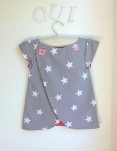 Girls Pinafore Dress, Wrap top, Girls Shirt, The Chocolatine Tunic - Sizes 12 months to 6Y by ChocolatineBoutique for $25.00