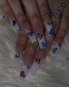 French Tip Acrylic Nails, Simple Acrylic Nails, Blue Acrylic Nails, Summer Acrylic Nails, Square Acrylic Nails, Acrylic Art, Aycrlic Nails, Bling Nails, Nail Swag