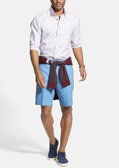 Sport shirt with flat front linen & cotton shorts for the weekend.