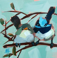 Fairy Wrens original bird oil painting by Moulton by prattcreekart, $50.00