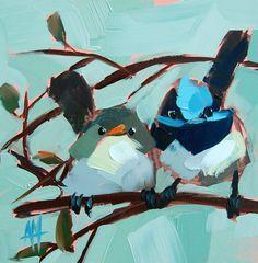 Fée Wrens original oiseau huile sur toile de par prattcreekart