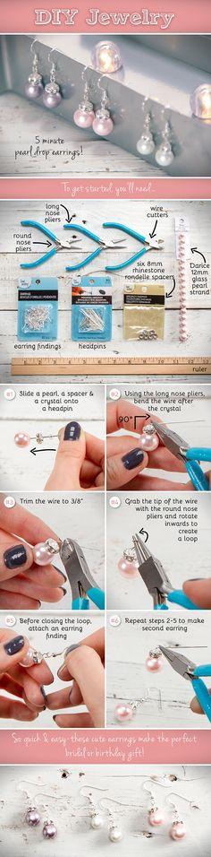 DIY Pearl Drop Earrings Jewelry