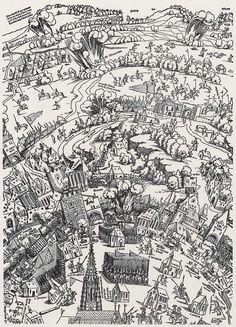 Publisher: Meldemann, Nikolaus, Title: »Der Meldeman-Plan« Belagerung der Stadt Wien, Detail [2/6], Date: 1529 Medieval Castle, Knights, Planer, Castles, City Photo, History, City, Historia, Chateaus