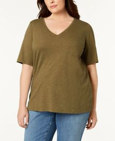 Eileen Fisher Plus Size Organic Cotton T-Shirt - Orange 3X