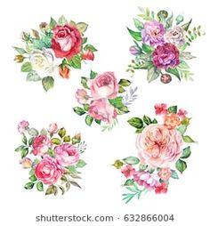 watercolor. set of roses bouquet