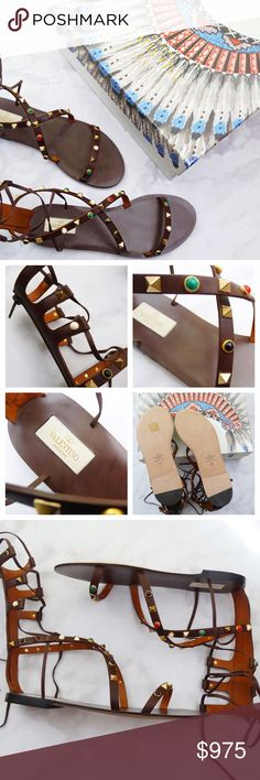 ⚡️Valentino Brown Rockstud Gladiator Sandals Details: • Size 39 • Dark brown calf leather  • Gold pyramid studs and red, green, black, and white cabochons • Lace up ankles and a back zip closure • Comes with box, dust bag, extra pieces  • 100% authentic   07281601 Valentino Shoes Sandals