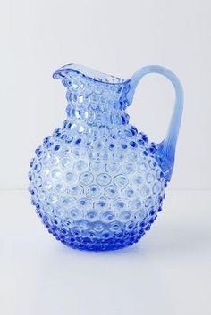 Beautiful Blue water pitcher. Would be great for entertaining. Hobnail Pitcher - Anthropologie
