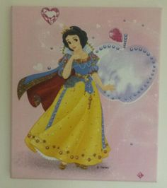 Disney pink Princess Snow White girls bedroom fabric WALL ART decor - matching roman blinds also available by TyneBlinds on Etsy