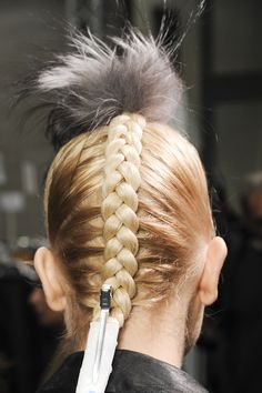 Badass Braids  Thought braids were just for spring/summer? Oh, hell no. A preppy French braid or sleek side-braid are great choices for AW13.   As seen at: Fendi   OK, we're not sure the punk headpiece will work for work, either, but this super-click French braid is a definite winner.