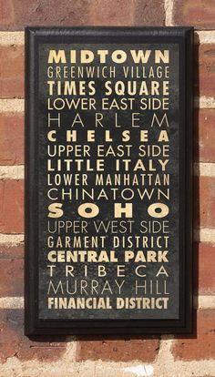 New York City Manhattan Districts and Neighborhoods Subway Scroll Vintage Style Wall Plaque / Sign