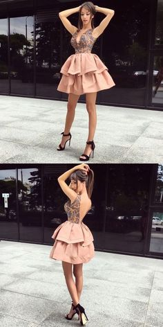 A-Line V-Neck Champagne Satin Homecoming Dress with Lace M4546