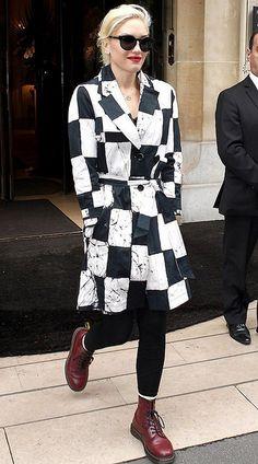 """Gwen Stefani (September 2012) in a Kelly Wearstler """"Noir Cube Batik"""" trench"""
