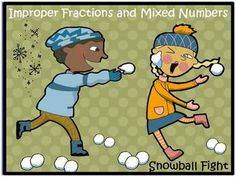Snowball improper fractions and mixed numbers game