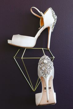 Ivory Shoes with Crystal Accents | Elite Events | Mary Wyar Photography https://www.theknot.com/marketplace/mary-wyar-photography-toledo-oh-367317