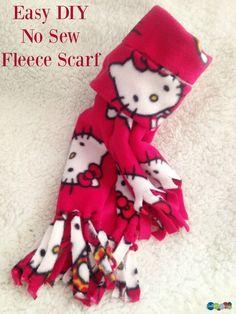 Easy DIY No Sew Fleece Scarf