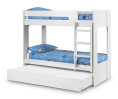 The Ellie White Bunk Bed is a simple bunk bed with an All White finish - http://www.furn-on.com/ellie-white-bunk-bed-with-underbed.html