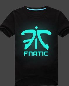 League of Legends Fnatic Team tshirt for mens black luminous tee-