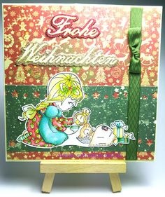 "Simple Christmas Greeting card with ""Merry Christmas, Bella"" Whimsy Stamps; ""Frohe Weihnachten"" Shape Dies Nellie Snellen; Designerpaper & Ribbon ""Victorian Christmas/Viktorianische Weihnachten"" Marianne Design Glitzerpapier von Rayher; Colored with TwinklingsH2O"