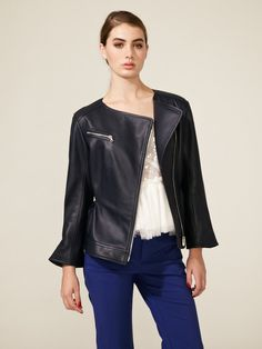 Leather Asymmetrical Zipper Jacket by Nina Ricci on Gilt.com