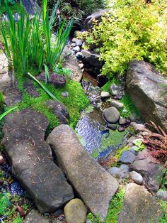 Traditional Landscape : Hillside River Pebble Water Feature River ...