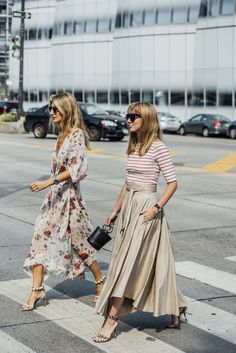 Summer style; Full length skirts and t-shirts.