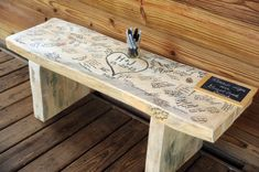 3 foot Wedding Guest book Bench These are a popular item in our store. They are not perfect, each on Wedding Book, Wedding Signs, Wedding Reception, Rustic Wedding, Wedding Ideas, Budget Wedding, Guest Book Ideas For Wedding, Wedding Souvenir, Diy Wedding Benches