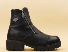 80s 90s Vtg Black Genuine Leather HARLEY Davidson Ankle Boots / Biker DOUBLE ZIPPER Chunky Tread Platform Heel Grunge Punk Goth/ 11 Eu 42 43