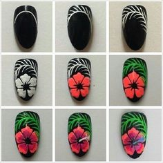 DYI Nail Art Blumen Nageldesign Nail Art Nail Tutorials Nagel Maniküre Source by trangxjnk Hibiscus Nail Art, Flower Nail Art, Cute Nail Art, Cute Nails, Pretty Nails, Nail Manicure, Diy Nails, Manicures, Nail Art Designs