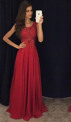 Fit And Flare Sleeveless Red Evening Dresses 2016 Lace Appliques Chiffon_High Quality Wedding Dresses, Quinceanera Dresses, Short Homecoming Dresses, Mother Of The Bride Dresses - Buy Cheap - China Wholesale - 27DRESS.COM