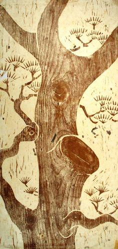 Pine woodblock