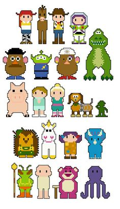 Toy Story 3 Pixel People Character PDF pattern by CheekySharkLabs