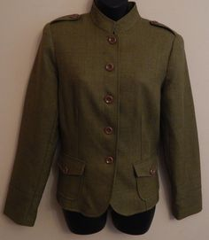 Women's Stanley Blacker Olive Green Suit Blazer Jacket Military Style Size 10 #Blacker #Blazer