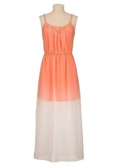 NWT MAURICES StudioY chain straps belted empire waist Chiffon Dip-dye MAXI DRESS #MauricesSTUDIOY #Maxi #Cocktail