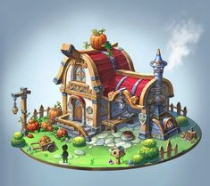 3d Fantasy, Fantasy House, Environment Concept Art, Environment Design, Gfx Design, Isometric Art, Building Concept, Prop Design, Game Concept