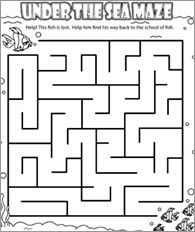 Funschool - Under The Sea Maze - Ocean-themed Printables