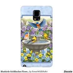 Bluebirds Goldfinches Flower Garden Fountain Blue Galaxy Note 4 Case