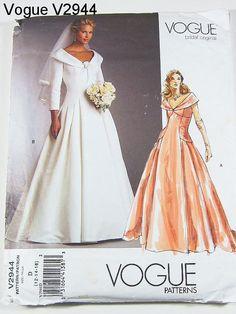 Vogue Wedding Dress Pattern V2944 - Misses' Dress - Vogue Bridal Original - Sz 12/14/16