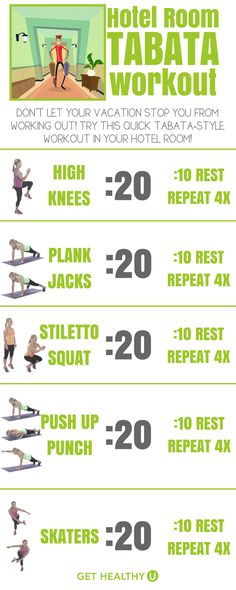 Check out this tabata-style HIIT workout that you can do in your hotel room! You can do it anywhere, actually, and it's a great workout when you're on-the-go. Don't let your vacation ruin your fitness routine, try this workout and keep up your progress! Get your heart pumping and burn those vacation calories with this workout!
