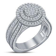Diamond Humor 3ct Round Cut Lotus Flower White Diamond Wedding Bridal Ring In 14k White Gold