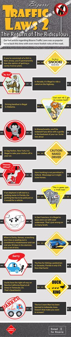 Infographic : Unusual State Traffic Laws | Crazy Car Laws | Weird Road Laws | Bizarre Driving Laws