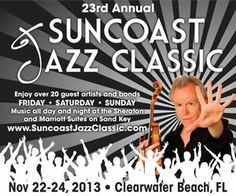 Enjoy jazz music from professional and aspiring artists on Clearwater Beach Nov 22-24 http://destinationtampabay.com/events/23rd-annual-suncoast-jazz-classic/