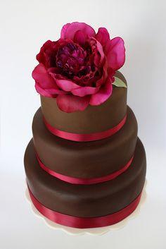 Chocolate Peony Wedding Cake