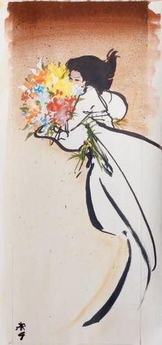 Brune au bouquet de fleurs (gouache)