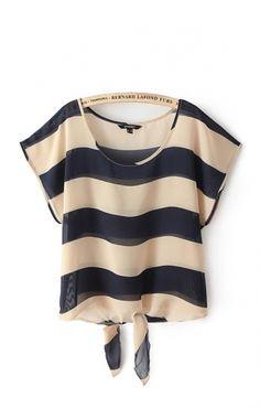 Navy and Tan Stripes Print Short Batwing Sleeves Chiffon Casual T-shirt #Nautical #Navy #Summer #Fashion