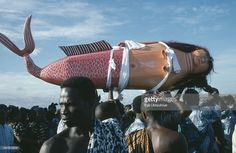 Ghana, Teshie, Coffin made and painted to resemble a mermaid for Ga tribal priestess