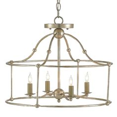 This attractively broad variant of the Fitzjames series features soft curves in the construction of its open wrought iron frame. Hammered metal rods are connected with orbs and finished with an attractive Silver Granello veneer, giving this ceiling mount just a hint of chic industrial style.  Material: Wrought Iron Finish: Silver Granello