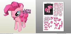 Papercraft .pdo file template for My little Pony - Pinkie Pie.