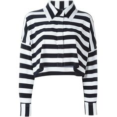 Norma Kamali Striped Long Sleeves Cropped Shirt ($189) ❤ liked on Polyvore featuring tops, blouses, blue, blue crop top, blue striped shirt, striped shirt, striped crop top and stripe shirt